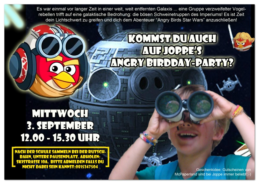 joppe - uitnodiging Angry Birds Star Wars