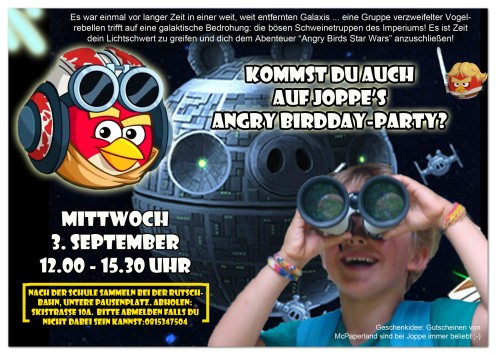 joppe - uitnodiging Angry Birds Star Wars